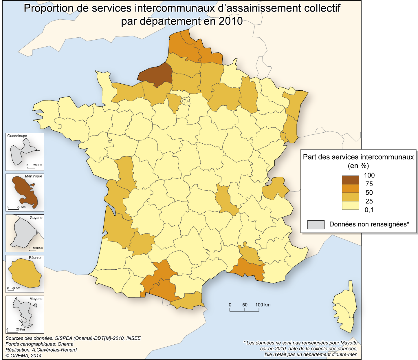 4)	Proportion de services intercommunaux d'assainissement collectif en 2010