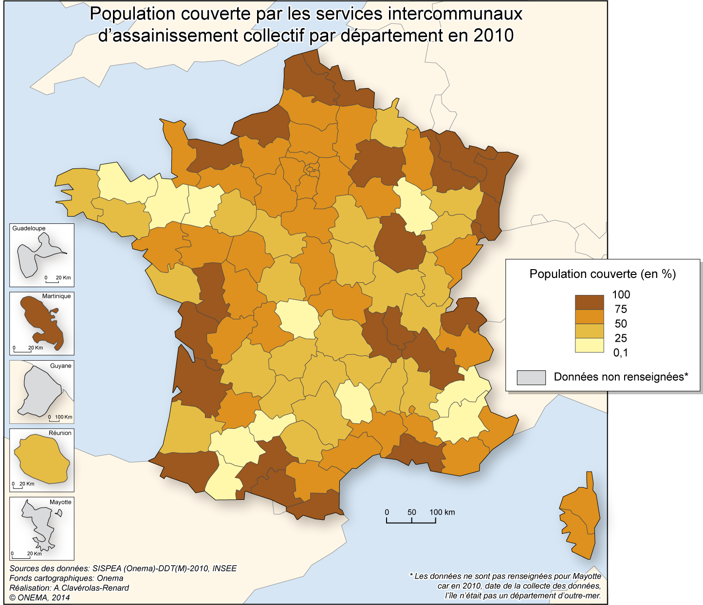 5)	Proportion de populations relevant d'un service intercommunal d'assainissement collectif en 2010